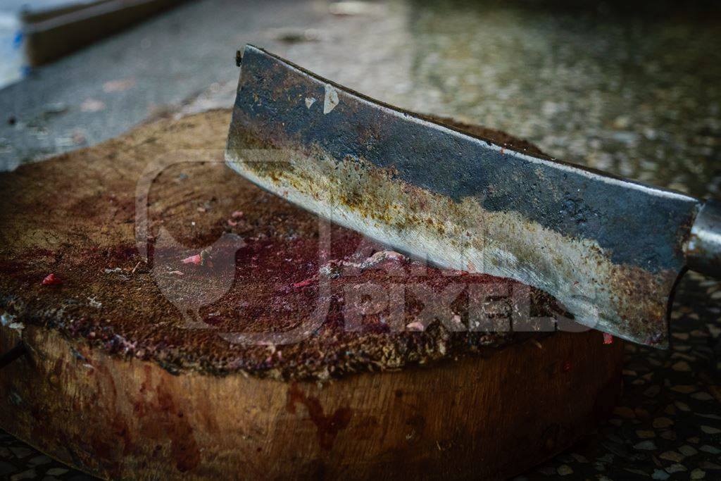 Fish chopping block with knife at the Mothers